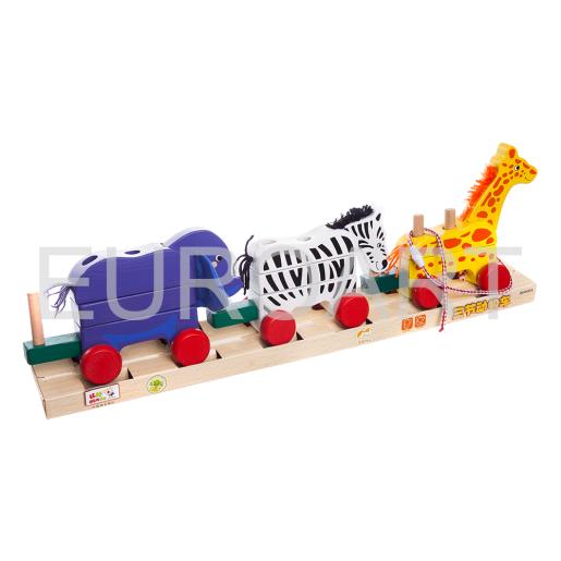 Tren din lemn animal