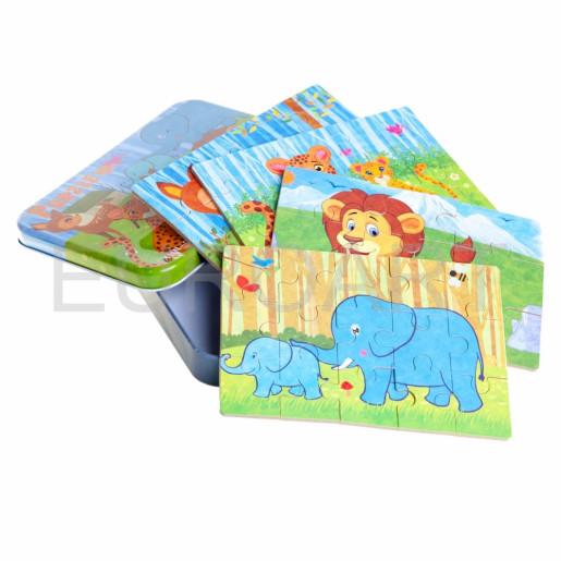 Puzzle colorat lemn penar animale salbatice