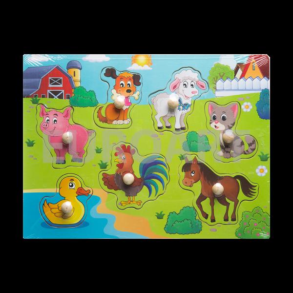 Puzzle lemn buton animale domestice